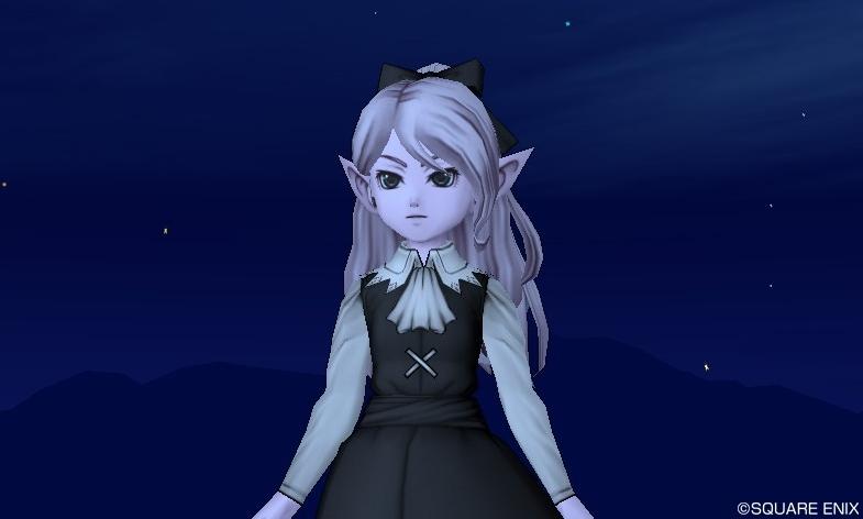 メレアーデウイッグを髪の毛はオーロラカメリア、リボンはブラックリリィでカラーリングしてドレスアップしてみた