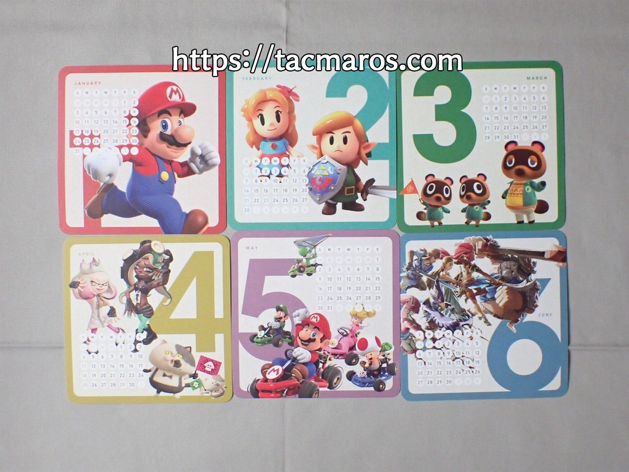 My Nintendo マイニンテンドーオリジナルカレンダー2021 1月、2月、3月、4月、5月、6月のカレンダーの表側